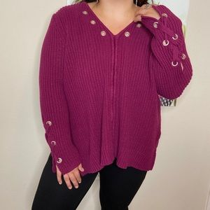 Lane Bryant Fuchsia Pink V Neck Knit Lace Sweater